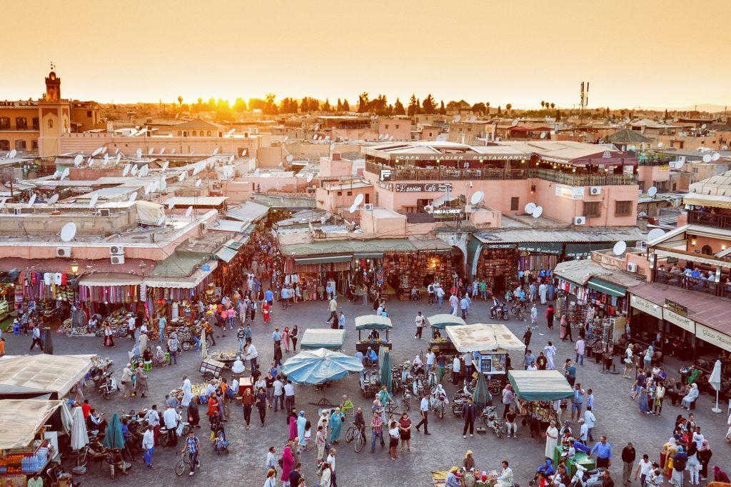 Busy street market in Marrakech